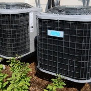 Two outdoor air conditioner units.